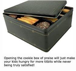 Cookie box as a metaphor for children seeking praise