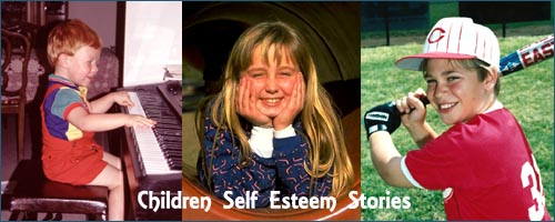 Self Esteem Children - photos of happy kids - boy playing the piano - boy playing baseball picure