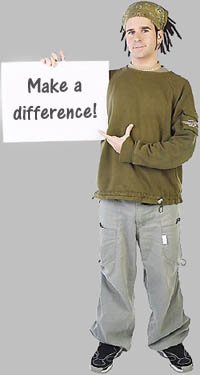 Teen phases: Social responsibility - teen boy holding up sign of making a difference.