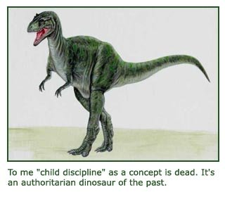 Art drawing of dinosaur representing child discipline.